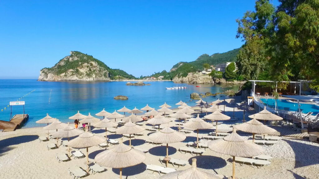 Sunbeds and umbrellas in Corfu